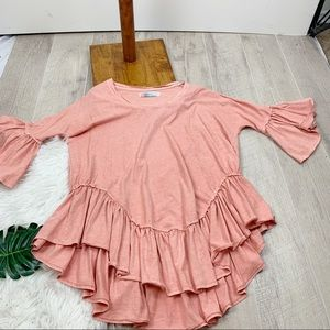 Free People Tops - FP Beach Ruffled Hem Bell Sleeve Blouse G3257